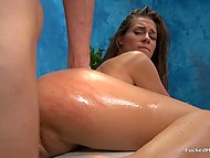 Pretty amateur girl didn't expect to get her smooth pussy fucked at a usual massage parlor 7