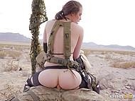Soldier Charles Dera with eyepatch assfucks Casey Calvert in desert to make girl join him 10