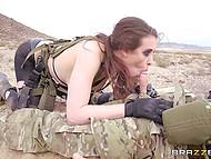 Soldier Charles Dera with eyepatch assfucks Casey Calvert in desert to make girl join him 4