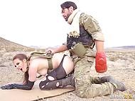 Soldier Charles Dera with eyepatch assfucks Casey Calvert in desert to make girl join him 6