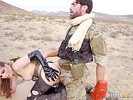 Soldier Charles Dera with eyepatch assfucks Casey Calvert in desert to make girl join him 7