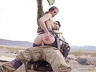 Soldier Charles Dera with eyepatch assfucks Casey Calvert in desert to make girl join him