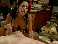 Sexy brunette with big tits rides cock and uses powerful vibrator to receive sexual pleasure 8