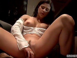 Receptionist girl often answers phone calls still this busty brunette manages to ride cock
