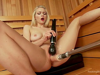 There is one simple reason why Alli Rae comes to sauna: fucking machine and big vibrator
