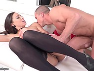Stocky man and attractive mistress in black stockings have amazing sex on white sofa 8