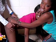 Curious Ebony girl makes sure her pretty girlfriend is nailed well by excited buddy
