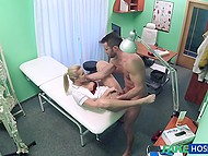 Good-looking blonde doctor from Czech takes bearded patient's cock in pussy to help him