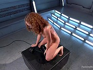 Fucking machine and Sybian are the sex toys that will help nerdy Latina girl with curly hair reach orgasm 10