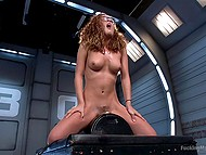 Fucking machine and Sybian are the sex toys that will help nerdy Latina girl with curly hair reach orgasm 11
