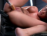 Fucking machine and Sybian are the sex toys that will help nerdy Latina girl with curly hair reach orgasm 5