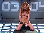 Fucking machine and Sybian are the sex toys that will help nerdy Latina girl with curly hair reach orgasm 7