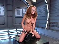Fucking machine and Sybian are the sex toys that will help nerdy Latina girl with curly hair reach orgasm