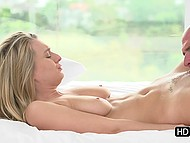 Bald man gently kisses Natalia Starr's neck and lovely postpones cooking in favor of oral pleasure 7