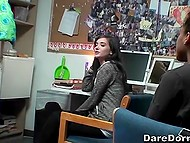 Man films two chicks fingering each other's pussy and licking in front of other students 5