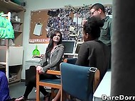 Man films two chicks fingering each other's pussy and licking in front of other students 7
