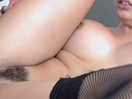 Extreme girl with fishnet stockings shaved her head but left hair on pubis to be sexier for man 9