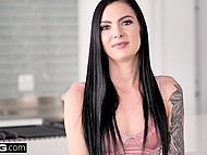 Sensual chick Marley Brinx called boyfriend to come and roughly fuck her pussy in kitchen 5