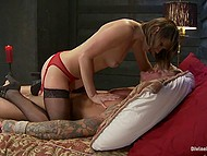 Man allowed chick to tied him up to bed and do whatever she wants to his erect cock 4