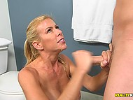 Curious boy sneaked in bathroom for secret sex with new stepmother Alexis Fawx 5
