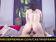 Slender French brunette with butt plug in ass fucked hard by muscular man at audition