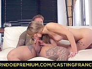 Modest French girl came to the audition and big tattooed guy gladly stretched her on sofa 7
