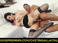 Uninhibited Italian mature in stockings doesn't mind taking cock in hairy pussy on camera