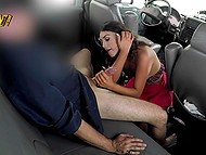 Young fellatrix with cute face asks driver to stop the car and gives him blowjob in the backseat 10