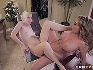 Modeling coach Richelle Ryan catches Chloe Cherry eating cake and forces blonde to lick her pussy