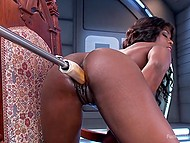 Fuck-machine penetrates into the wet pussy of black chick at high speed while she is stimulating clitoris with vibrator 4