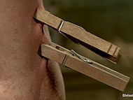 Clothespins are stuck on man's body and even his balls but female shocks and whips him 10