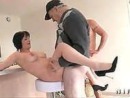Old farmer and his young friend are lucky today because they fuck hot French brunette