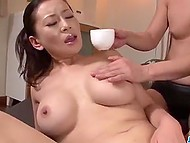 Excited guys masturbate hairy pussy of Japanese MILF Rei Kitajima using sex toys and cum on her face 4