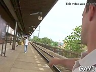 Homosexual man likes guy who is walking on the platform and cameraman quickly convinces him to practice anal fuck 4