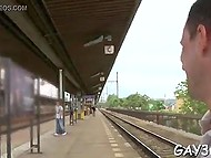 Homosexual man likes guy who is walking on the platform and cameraman quickly convinces him to practice anal fuck 6