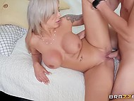 MILF is ready for adventures in husband's apartment with younger man and makes him fuck her 8