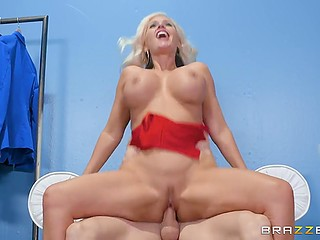 Bald womanizer likes to cum inside pussies and blonde MILF Alena Croft with amazing assets is next