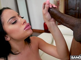 Boyfriend won't come home this night and amazing Latina Victoria June sucks huge black cock of delivery guy