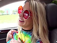 Young chick in red shades gives guy pleasure masturbating pussy with fingers in the back seat 6