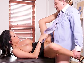 Busty beauty from France will be hired if employer likes pussyfucking on the office table