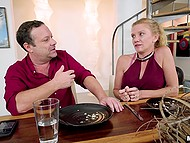 Man leaves the table because he can't wait to receive blowjob by friend's lustful stepdaughter 5