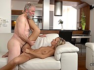 Old man with beard has no problems with sexual life because he regularly fucks young lover