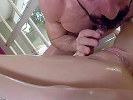 Girl with a pretty figure Piper Perri sucks and moans while macho man is licking her pussy 11