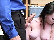 Teen shoplifter blows security officer's cock realizing that it's the only way to avoid problems with cops 7