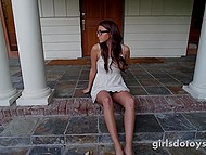 Nerdy girl with small tits masturbates pussy in the kitchen and decides to do it in front of the house 4