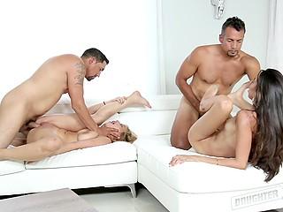 Девушки приходят домой под утро и их ждёт наказание в виде групповой пежни с отчимами