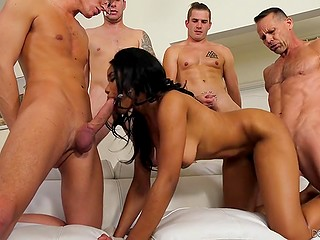 Black slut Jenna J Ross is sure that group sex with white men will give her a lot of pleasure