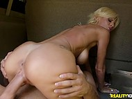 Man picks up a hitchhiker and lustful blonde beauty thanks him by hot fuck in the car 9