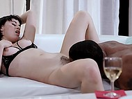 Brunette Olive Glass is very happy to meet black stud so she pleases him with blowjob 10