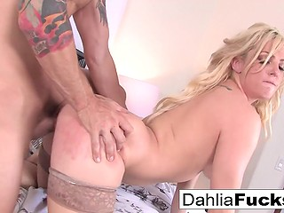 Ravishing blonde Dahlia Sky sucks partner's cock and guy fucks her pussy from behind